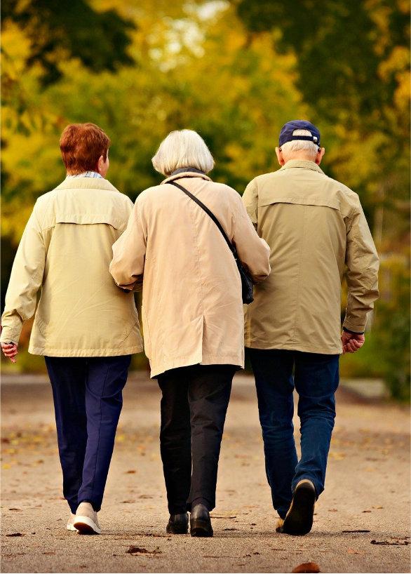 Gruppe älterer Personen beim Spaziergang